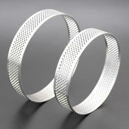 Stainless Steel Tart Ring Heat-Resistant Perforated Mousse Ring for Pastry Cake(Various Shape)