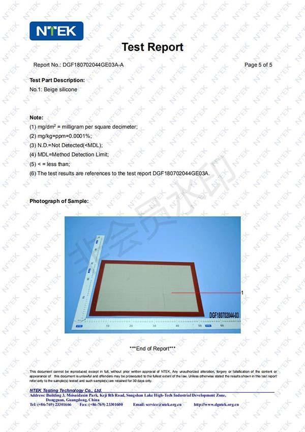 LFGB Certificate of Silica Gel Pad