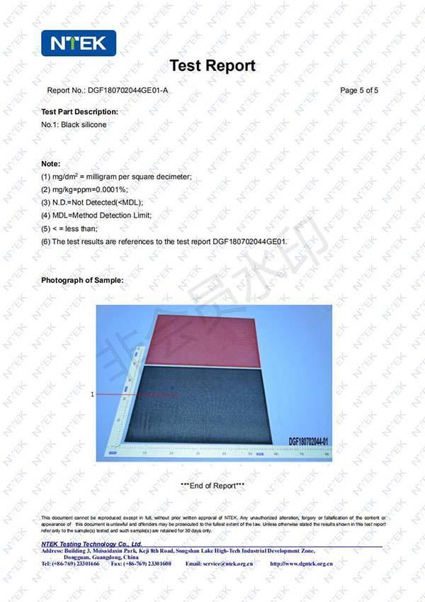 Hollow Pad LFGB Certificate